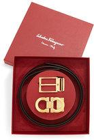 Salvatore Ferragamo Reversible Leather Belt Boxed Gift Set, Black/Brown