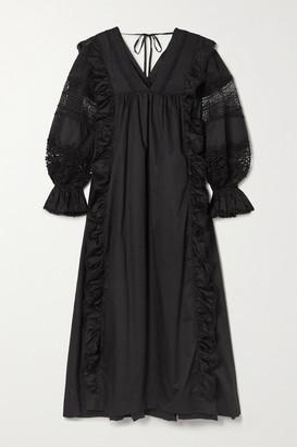 Lug Von Siga Carla Crochet-trimmed Cotton-poplin Midi Dress