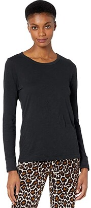 J.Crew Vintage Cotton Crew Neck Long Sleeve (Black) Women's Clothing