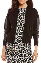 MICHAEL Michael Kors Sweater Knit Bomber Jacket With Faux Leather Trim Sleeves
