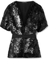 Narciso Rodriguez Belted Sequined Silk Blouse - Black