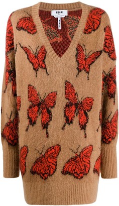 MSGM Butterfly Pattern Jumper