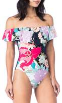 Trina Turk Royal Botanical Off the Shoulder One-Piece Swimsuit
