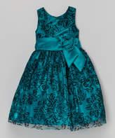 Jayne Copeland Teal & Black Lace A-Line Dress - Toddler & Girls