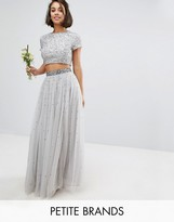Maya Petite Sequin And Tulle Maxi Skirt
