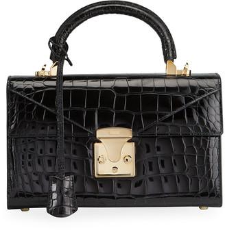 Stalvey Glossy Alligator 2.5 Small Top-Handle Bag, Noir