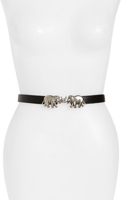 Raina Carraway Elephant Buckle Leather Belt