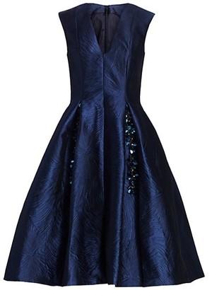 Talbot Runhof Licuala Grandis Jacquard Fit-&-Flare Dress