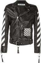 Off-White arrow print biker jacket - men - Calf Leather/Viscose - XS
