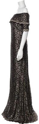 Jovani Lace Pattern Long Dress w/ Tags Gold