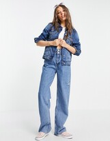 Thumbnail for your product : Brave Soul Bloom denim jacket in mid wash blue