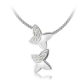 """Tuscany Silver Sterling Silver Cubic Zirconia 2 Butterflys Pendant on Adjustable Curb Chain Necklace of 41cm/16""""-46cm/18"""""""