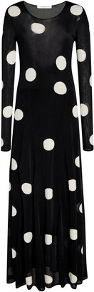Carolina Herrera Polka-Dot Chiffon Maxi Dress