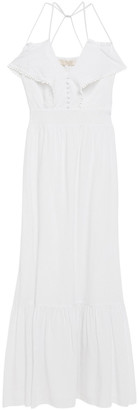 Vanessa Bruno Picot-trimmed Striped Gauze Maxi Dress