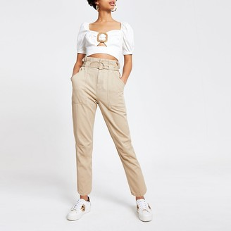 River Island Beige twill paperbag waist utility trousers