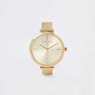 River Island Gold colour mesh strap watch
