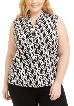 Adrienne Vittadini Plus Size Scarf-Neck Top