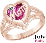 AFFY Simulated Ruby & Cubic Zirconia Mom Heart Promise Ring in 14k White Over Sterling Silver