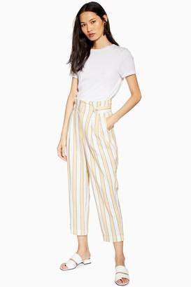 Topshop Womens Summer Stripe Peg Trousers - Lemon