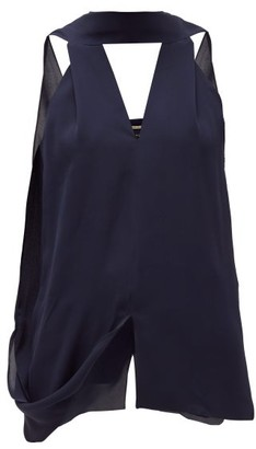 Roland Mouret Newborough V-neck Draped Silk Blouse - Navy
