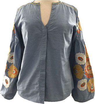 Teoh and Lea - Boho Blue Blouse - X Small