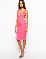 Oh My Love Plunge Neck Bodycon Dress with Side Detail