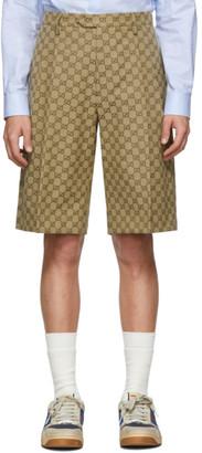 Gucci Beige Canvas GG Bermuda Shorts