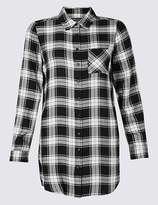 Marks and Spencer Longline Checked Long Sleeve Shirt