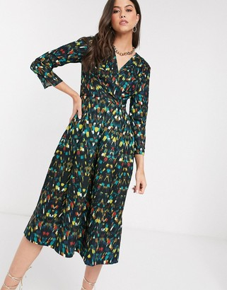 Closet London Closet pleated wrap dress in print
