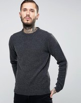 Asos Lambswool Rich Crew Neck Sweater in Charcoal