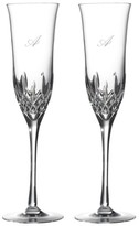 Waterford Lismore Essence Set Of 2 Monogram Lead Crystal Champagne Flutes