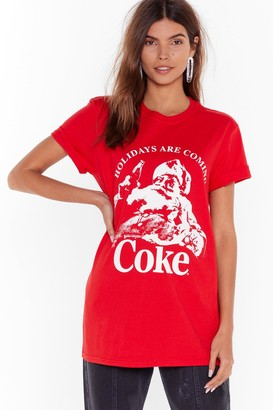 Nasty Gal Womens Holidays Are Coming Coke Graphic Tee - Red - S
