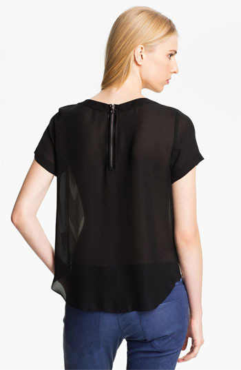 L'Agence Sequin Silk Blouse Butter/ Black 4