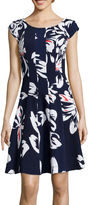Robbie Bee Cap-Sleeve Floral Print Fit-and-Flare Dress