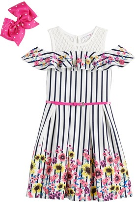 Knitworks Girls 4-6x Knit Works Embroidered Skater Dress with Belt and Bow