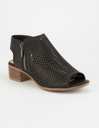 Soda Sunglasses Perforated Block Heel Black Womens Booties