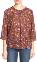 Hinge Foil Print Pleat Blouse