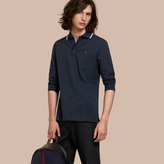Burberry Long-sleeved Tipped Cotton Piqué Polo Shirt