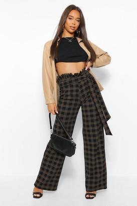 boohoo Paperbag High Waist Checked Wide Leg Trouser