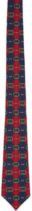 Gucci Blue and Red Silk Interlocking G Rhombus Tie