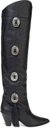 Aquazzura Go West 70 Buckle-embellished Leather Over-the-knee Boots