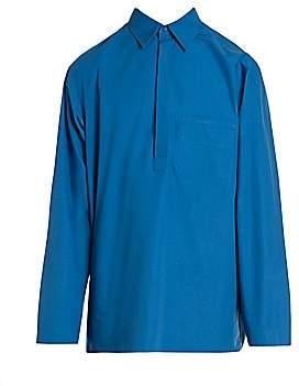 Valentino Men's Half-Placket Cotton Poplin Polo Shirt