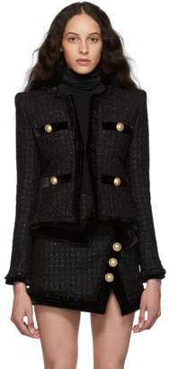 Balmain Black Tweed and Velvet Collarless Fringed Jacket