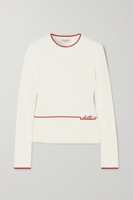 Valentino Embroidered Ribbed-knit Sweater - Ivory