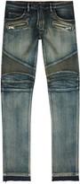 Balmain Blue Slim-leg Biker Jeans