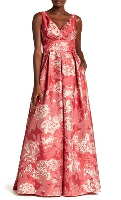 Carmen Marc Valvo Floral Ballgown Dress