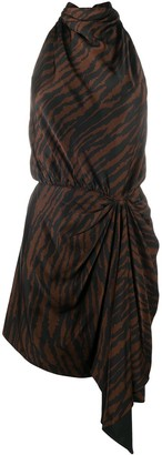 ATTICO Tiger-Print Halterneck Dress