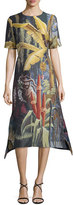 ADAM by Adam Lippes Eden Jacquard Short-Sleeve A-Line Dress, Multi