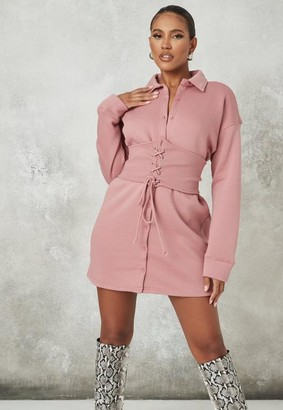 Missguided Pink Corset Waist Fleece Shirt Dress