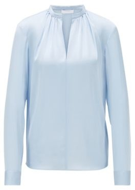 BOSS Crepe-de-Chine blouse with stand collar